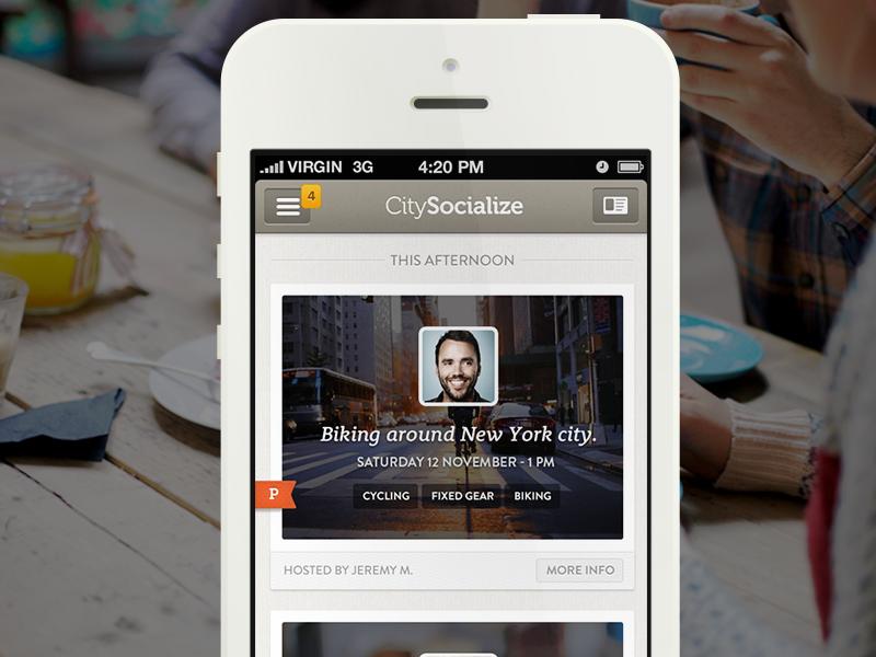 CitySocialising iPhone App Main Screen คุมโทนสีสวยอีกแล้ว