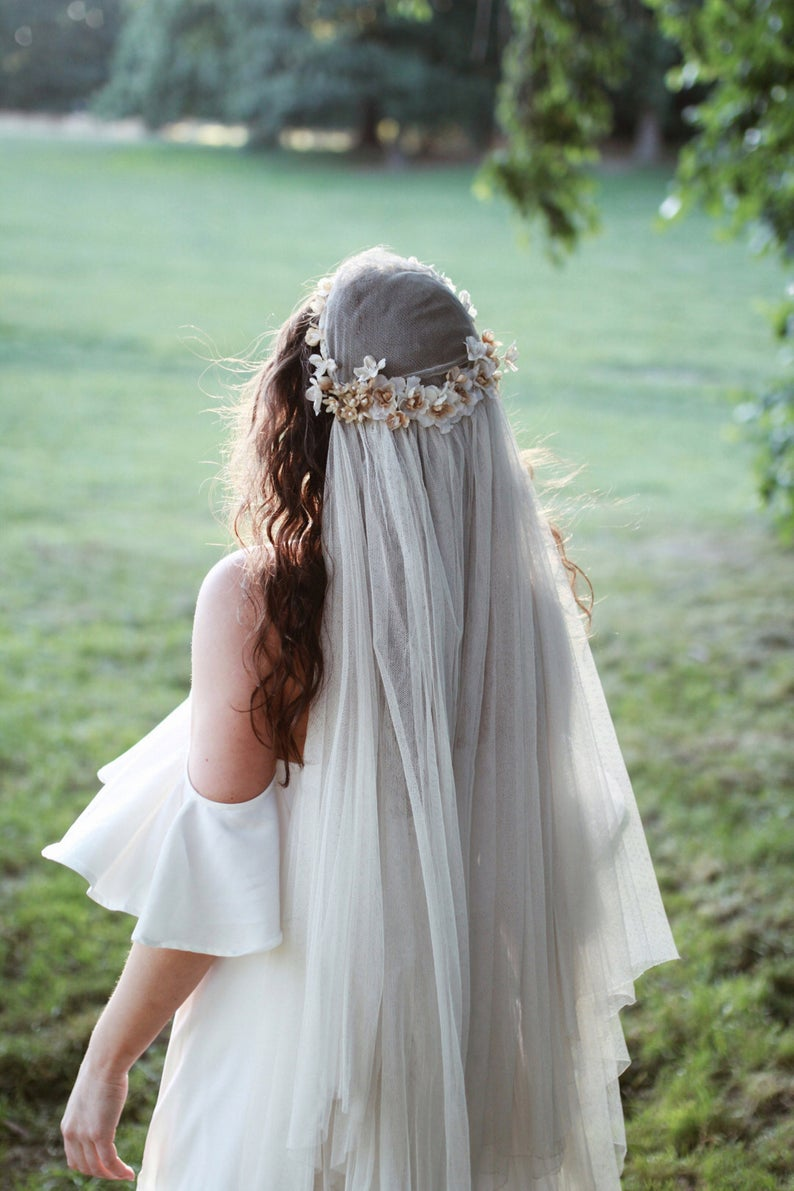 Antique Wedding Veil Juliet Cap Veil Vintage Bridal Headpiece