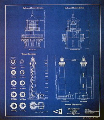 North Carolina Bodie Island Lighthouse Blueprint Plans 20 X23 272 Deniz Feneri Fener Mimari
