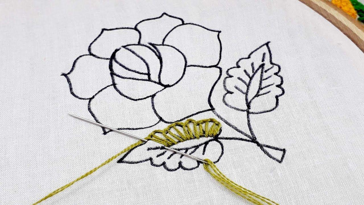 Hand Embroidery Easy Rose Flower Design Modern Rose Flower Embroidery Hand Embroidery Rose Embroidery Designs Cat Cross Stitch Pattern