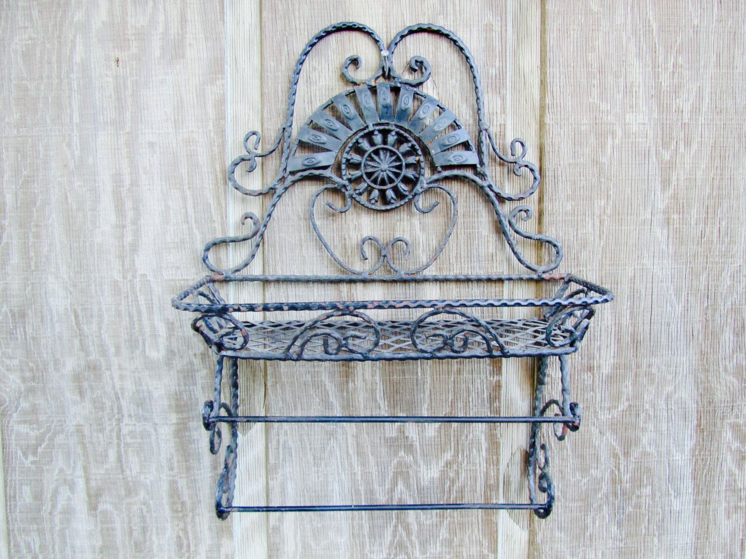 Shabby Chic Wall Decor Vintage Shelf Metal Shelfwrought Iron Shelfshabby Chic Decor