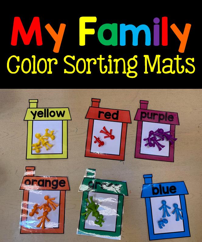 My Family Color Sorting Mats Preschool Family Theme Family Activities Preschool Literacy Activities Preschool