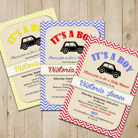 Retro Baby Shower Invitation / Chevron / Car / Digital Printable Invitation / Customized