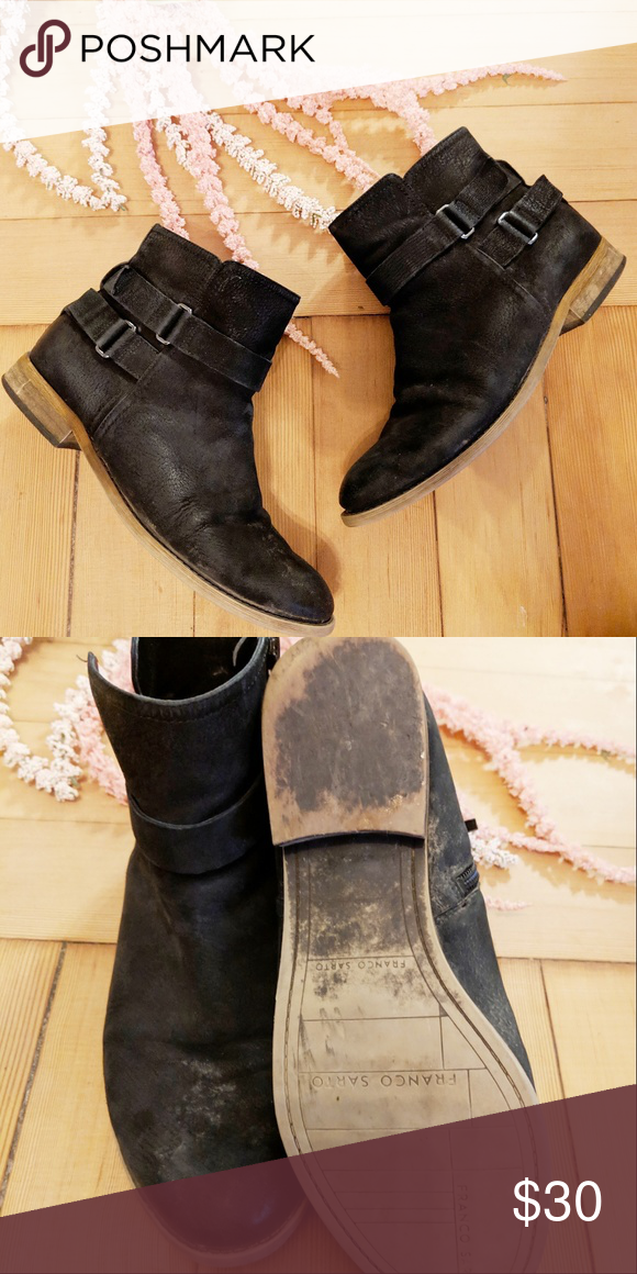 6c5d9f7f949 Franco Sarto Harwick Leather Booties Black 8.5 Buckle up for boot ...