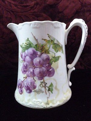 RP: US POTTERY SEMI VITREOUS MILK WATER PITCHER PURPLE GRAPES GREEN SHADOWS | eBay.com