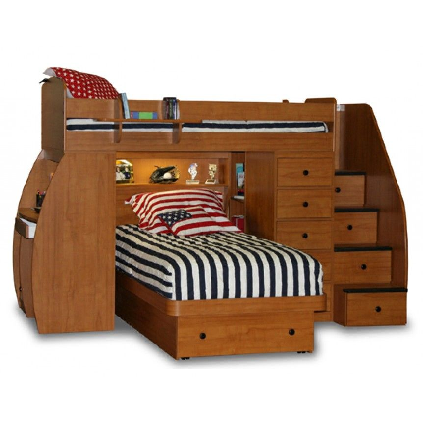 Captain Bunk Bed Stairs Desk Saver Twin Over Twin Platform Bed