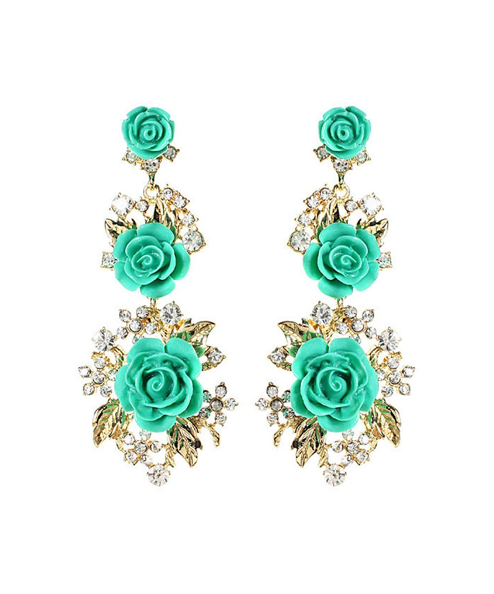 Amrita Singh Turquoise & Austrian Crystal Lyon Floral Drop Earrings | zulily