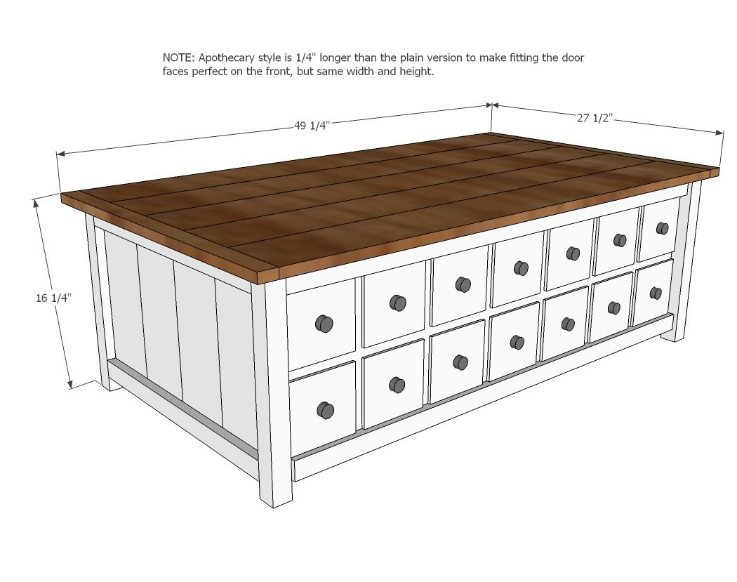 Apothecary Coffee Table With Toybox Trundle Diy Furniture Plans