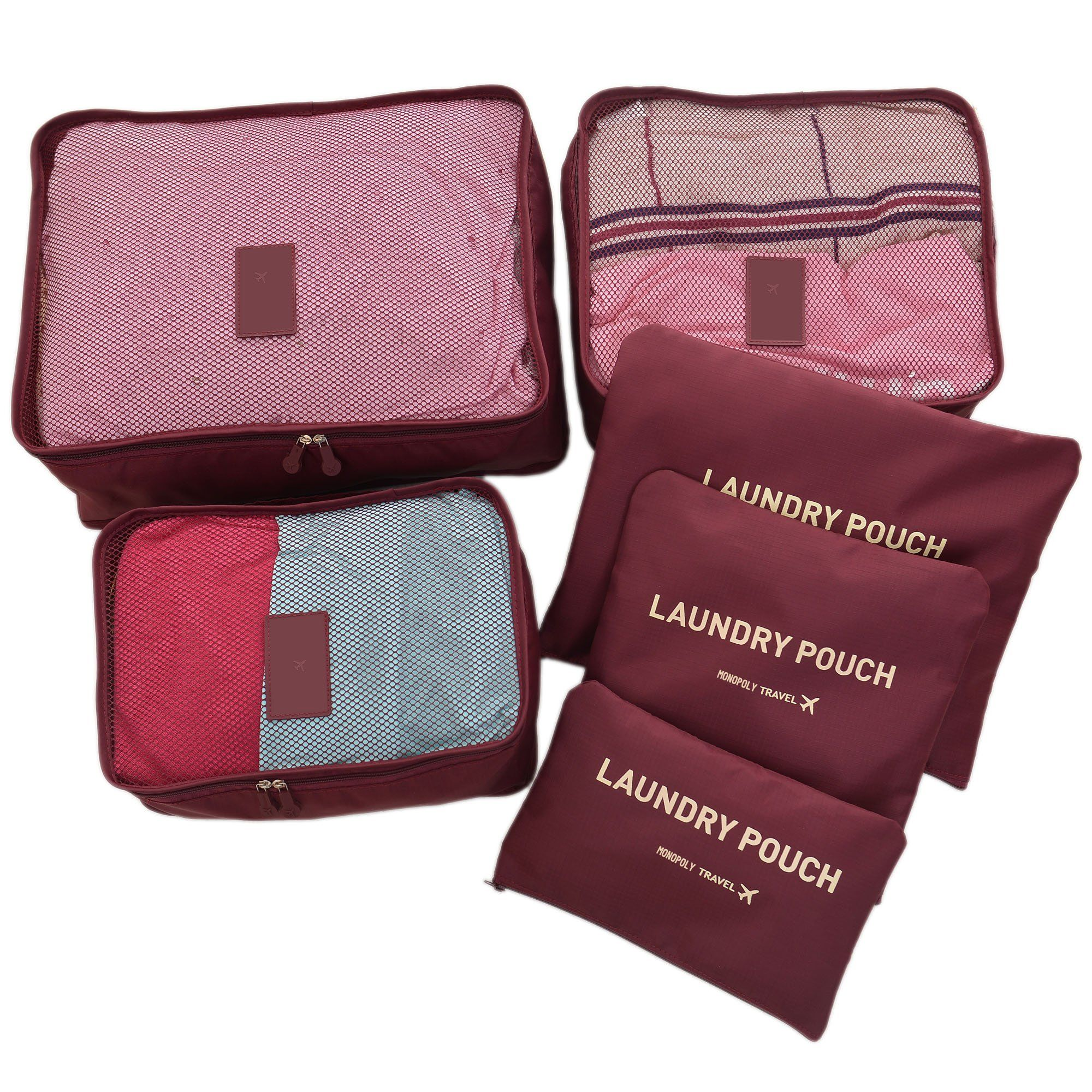 Hopsooken Travel Organizer Luggage Compression Pouches Wine Red 6piece Set See This Great Product Note Shoe Storage Bags Packing Bags Travel Travel Shoes