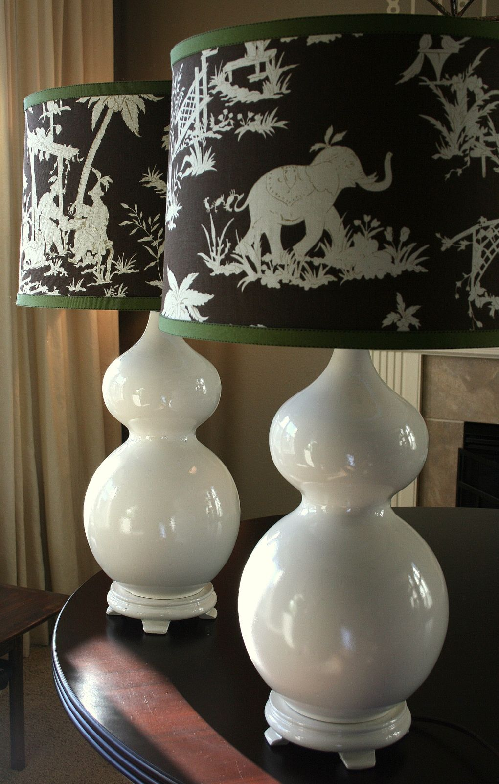 Beautiful White Lamps With Black And White Elephant Lamp Shades And Green Rim Lamp  Shades
