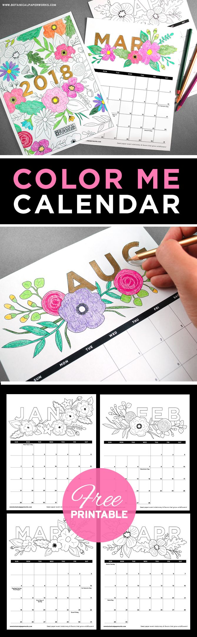 This Fun Free Printable Adult Coloring Book Calendar Is Filled With Floral Illustrations That Are Just
