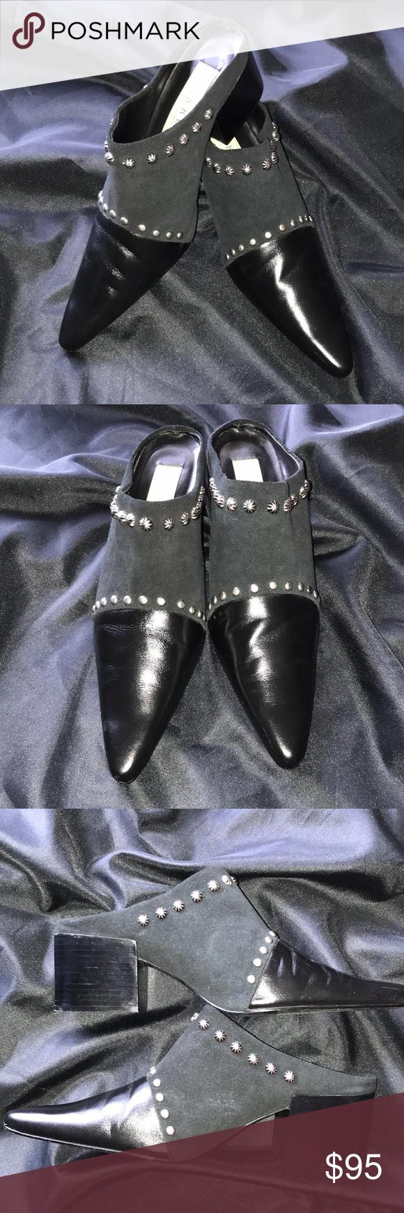 Yoakum Double D Ranch Black Studded Mules Sz 8 1 2 Black Studded Dress Shoes Men Black Suede [ 1740 x 580 Pixel ]