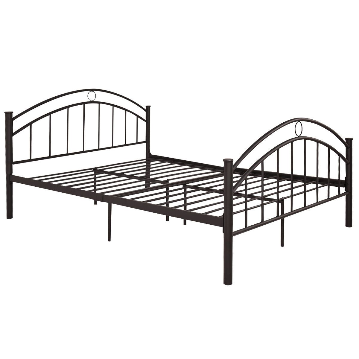 Black Queen Size Metal Bed Frame Mattress Platform Headboard