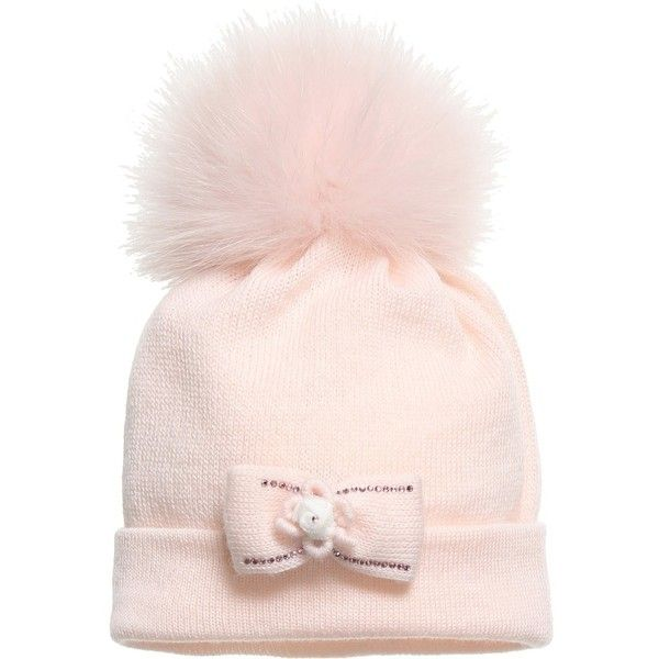 Il Trenino Baby Girls Pink Hat With synthetic Fur Pom- Pom ( 71) ❤ liked on  Polyvore featuring baby b75eda9ca22