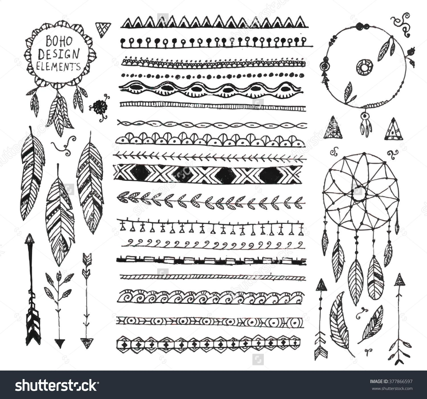 Bohemian Grpahics Ornaments Doodle Borders How To Draw Hands Boho Drawing