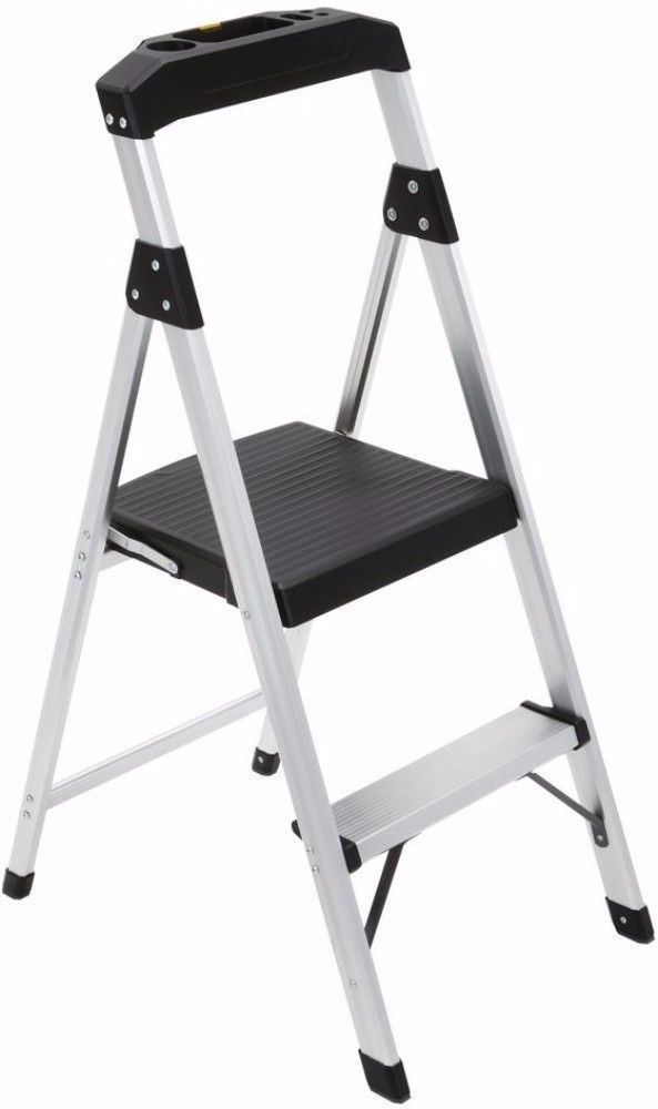 Durable Two Step Aluminum Step Stool Ladder With Built In Utility Tray Ladder Step Stool Outdoor Chairs Aluminum