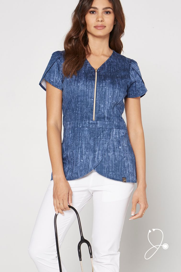 91c9bf491a8 Look and feel your best in Jaanuu scrubs.    A unique, denim-inspired  print. Our luxe antimicrobial-finished fabric, flattering silhouettes, and  signature ...