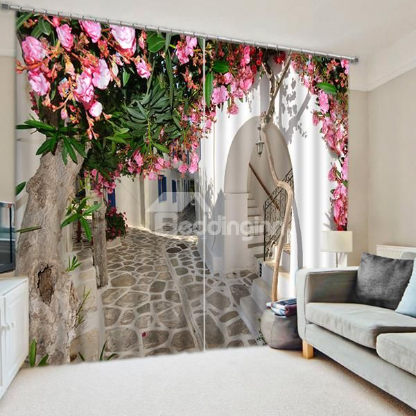 Blown Peach In Front Of White Door Print 3d Blackout Curtain Blackout Curtains Floral Curtains Brick Wallpaper Pink #peach #living #room #curtains