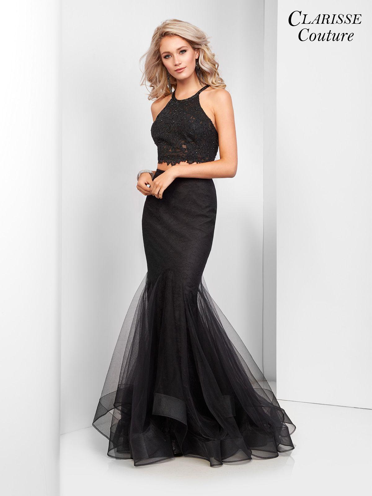 Black two piece mermaid prom dress prom mermaid and
