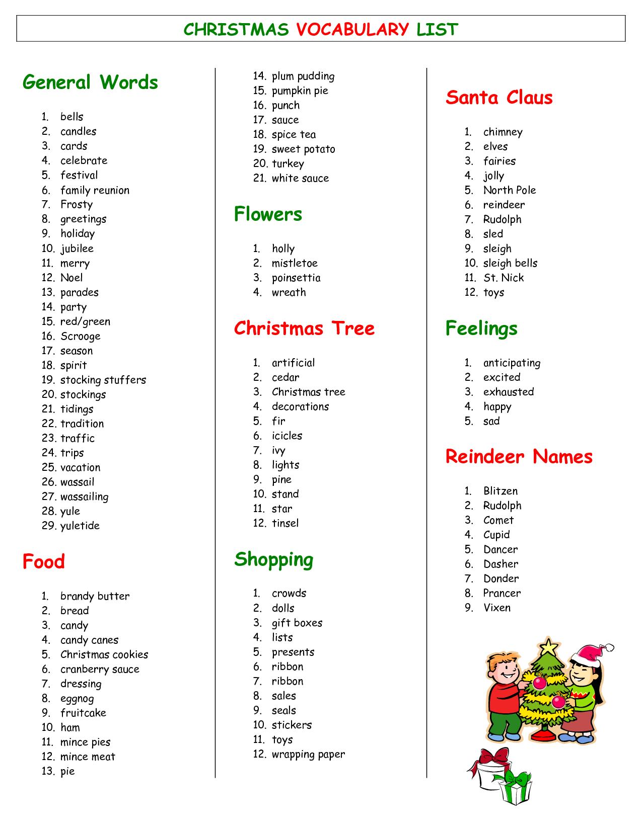 Xmas Vocabulary Lists