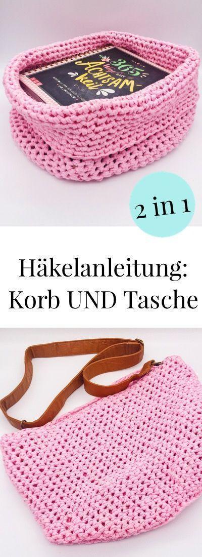 Photo of Häkelanleitung: Korb und Tasche in einem. Einfache Anleitung zum häkeln auf de…,  #Anleitun…