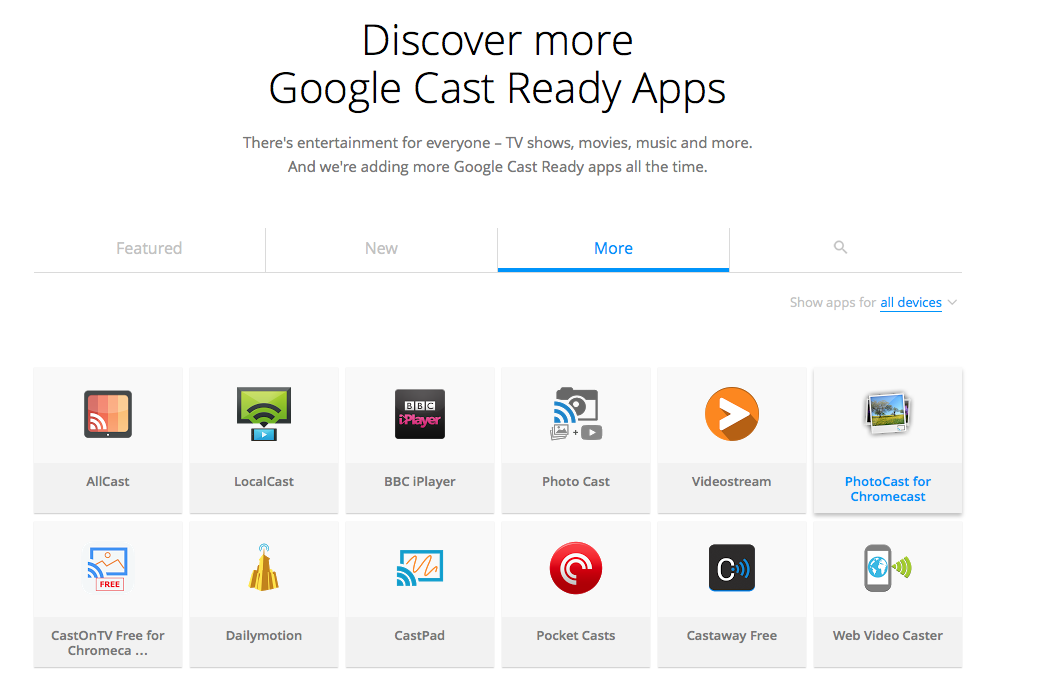 Google refreshes Chromecast website with tabbed interface