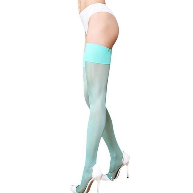 3d108c2e437b1 Sexy Nylon Stockings Thigh High Socks Women Summer Over The knee High Socks  Plus Size Stocking 15D ...