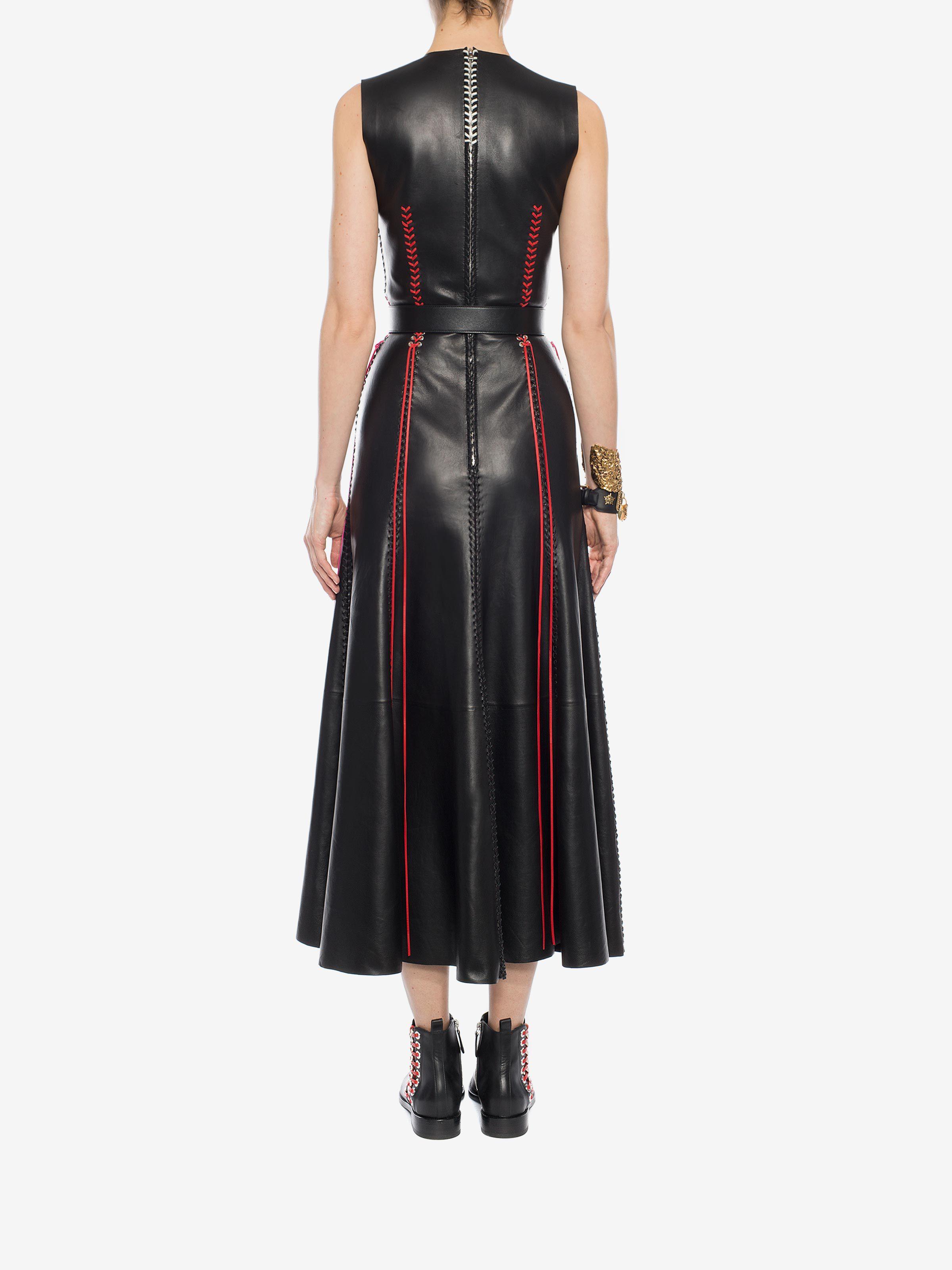Alexander mcqueen whipstitched leather dress long dress d e