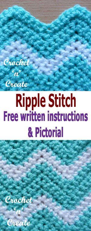Crochet Ripple Stitch Pictorial | Häkelmuster, Babydecken und Decken