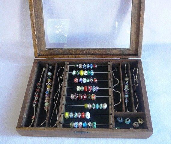 Jewellery Packaging And Bead Storage With: Pandora Bead Hinged Glass Top Bead Box For Storage By