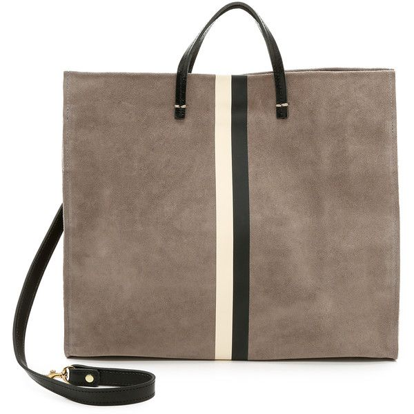 Clare V. Supreme Simple Tote - Dark Grey/Black And Cream found on Polyvore featuring polyvore, fashion, bags, handbags, tote bags, black purse, black leather tote, structured tote bag, genuine leather tote and black leather tote bag