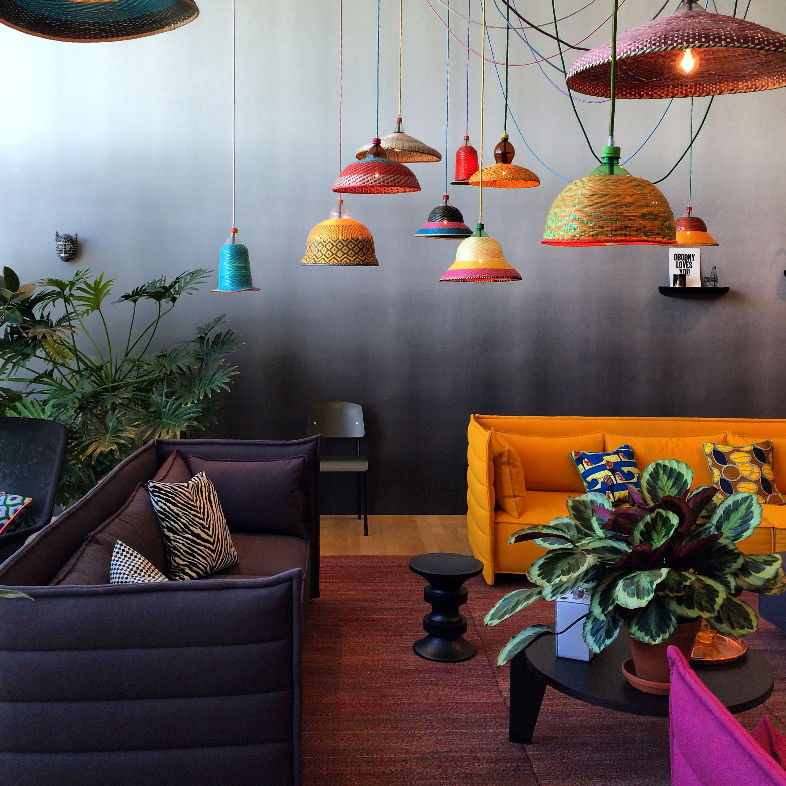 Colorful Cozy Spaces: The Colorful Lamps Really Pop Against The Ombre Wall In