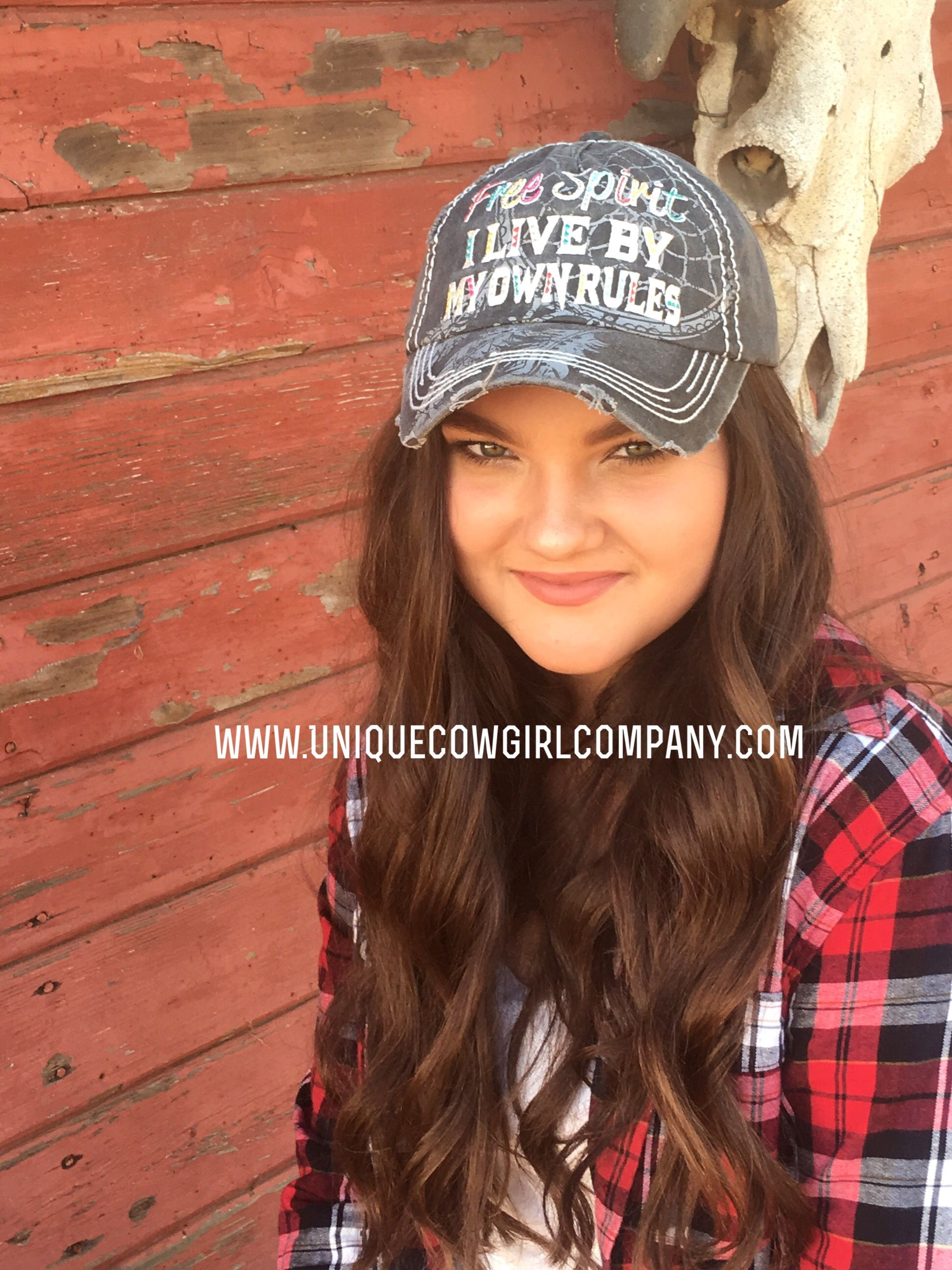 Free Spirit 'I live by my own rules' vintage western style Ball cap with dream catcher background  @ www.UniqueCowgirlCompany.com