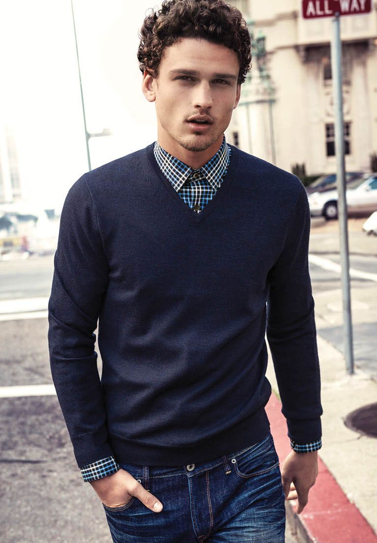 V Neck Sweater With Dress Shirt And Bowtie