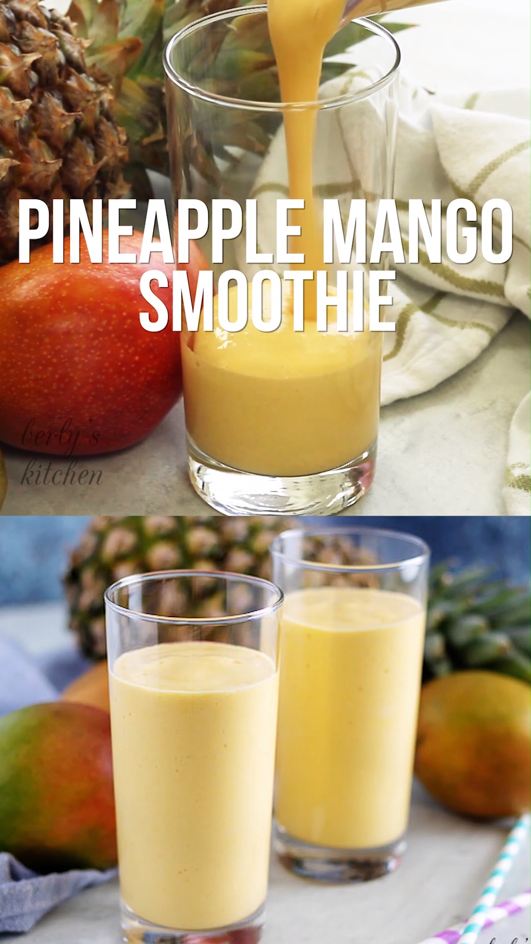 This Pineapple Mango Smoothie is made with coconut milk, pineapple, and mango. This Pineapple Mango Smoothie recipe has frozen fruit, no yogurt, and is easy to make in the blender. Food video, recipe video #berlyskitchen
