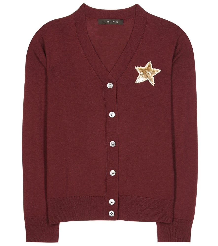 Marc Jacobs - Embellished wool cardigan - Marc Jacobs' burgundy ...