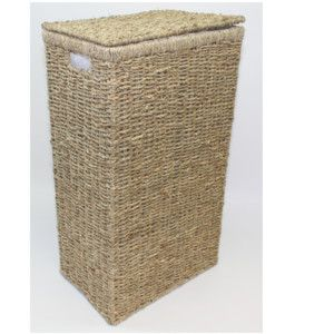 Seagrass Rectangle Laundry Washing Basket With Hinged Lid And