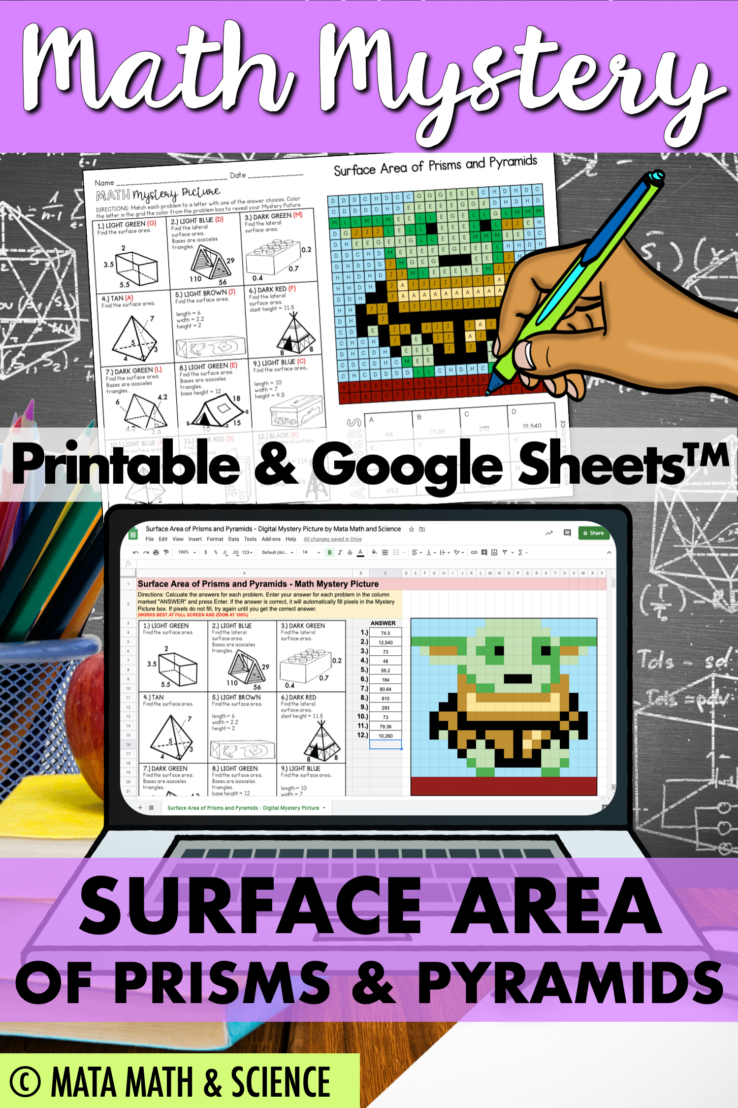 Surface Area Of Prisms And Pyramids Math Mystery Picture