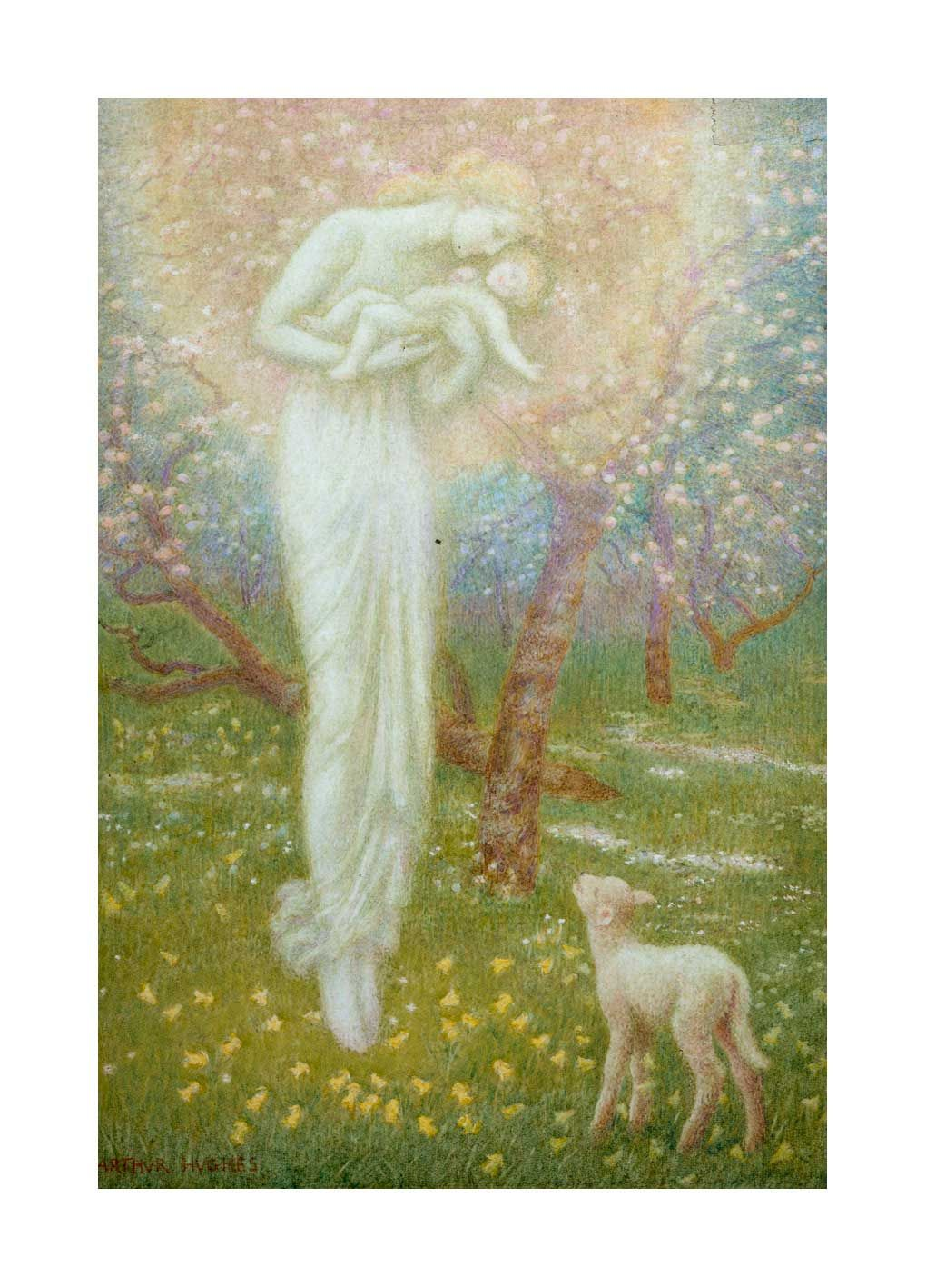 'Little Lamb, Who Made Thee?' by Arthur Hughes. Giclee