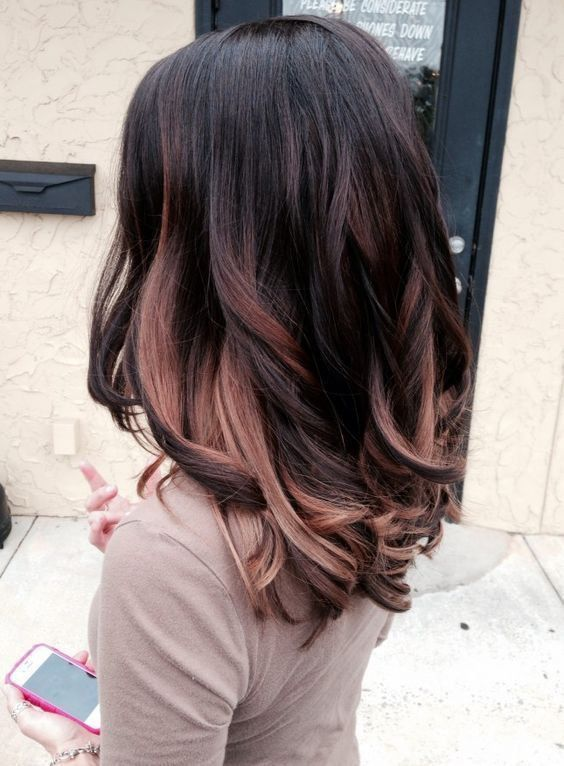 balayage ombre rose gold brunette