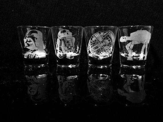 Star Wars Shot Glasses Set Of 4 Darth Vader By Gopherstudios