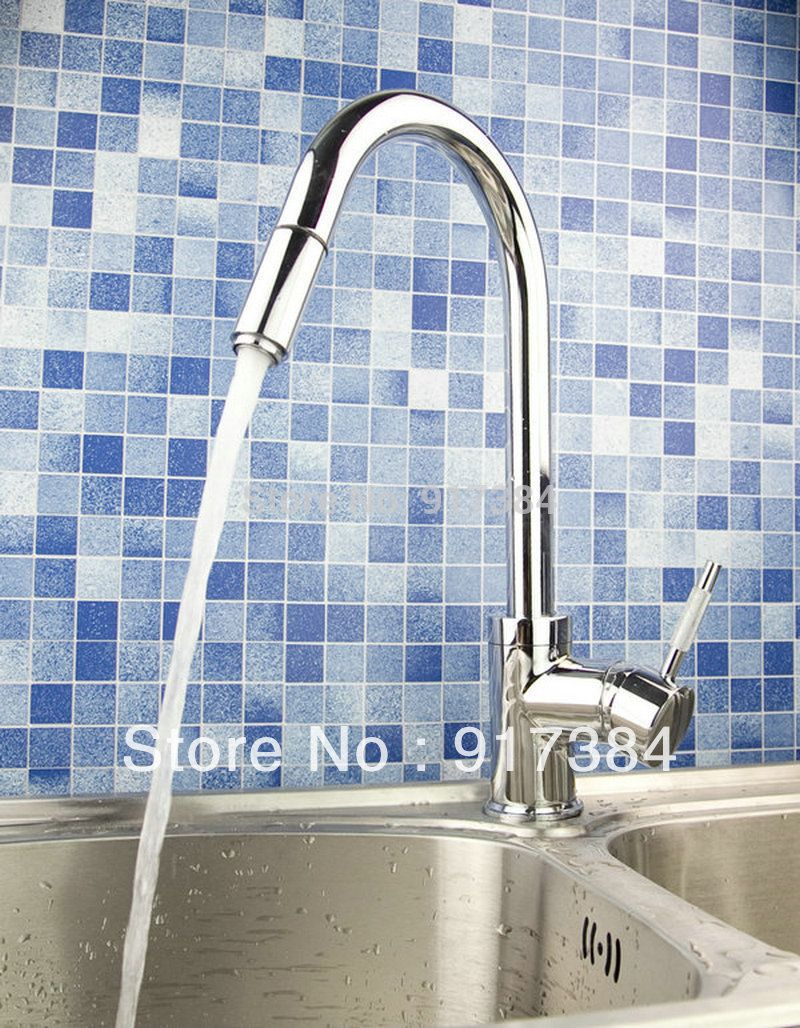 New Chrome Pullout Spray Kitchen Sink Faucet Water Tap W/ Pull Down ...