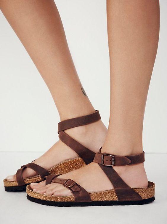 81c487e2ba6 Shop Women s Birkibuc Yara Leather Sandal in Mocha by Birkenstock on Country  Club Prep with free shipping