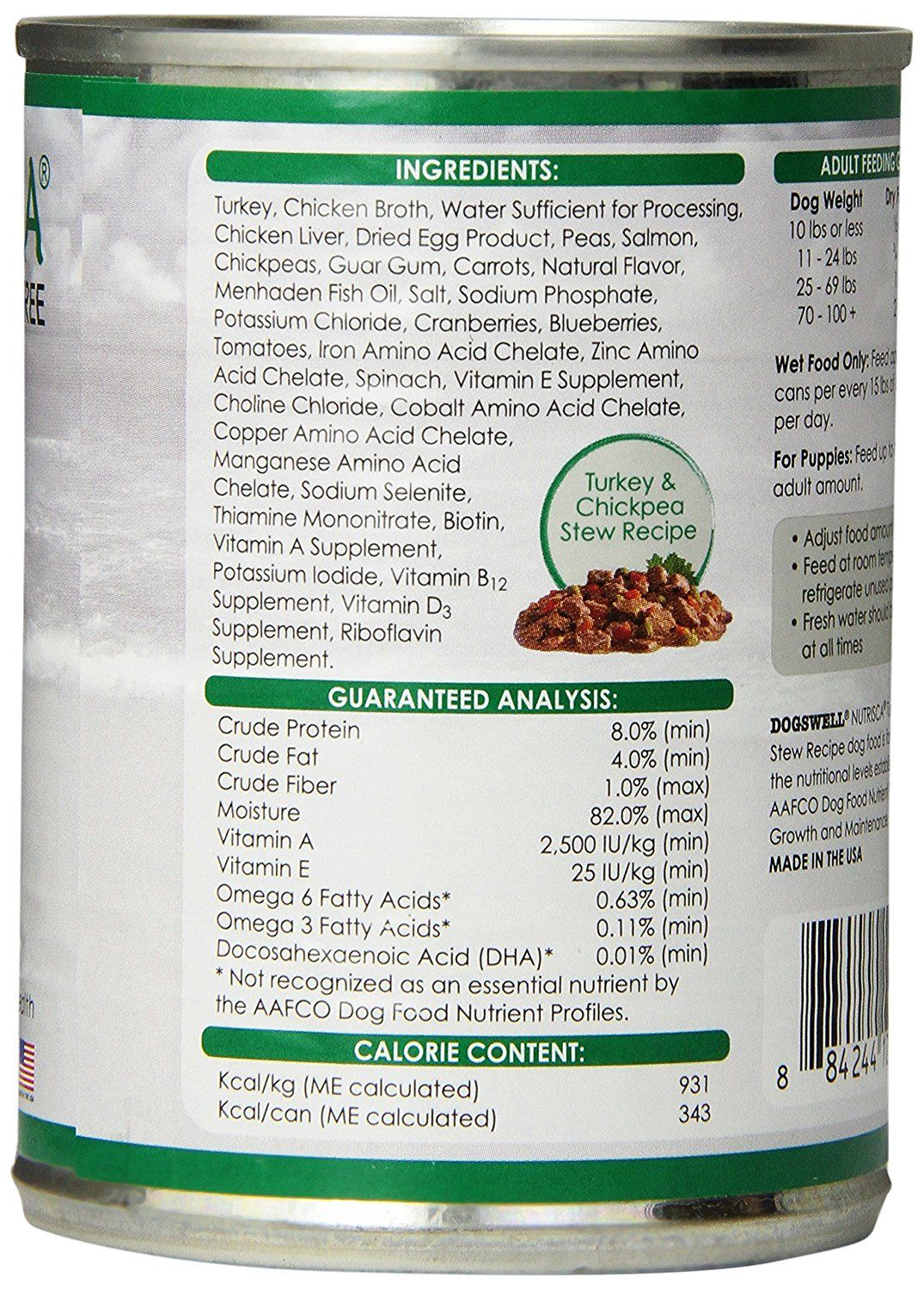 Dogswell 842552 12 Pack Nutrisca Turkey And Chickpea Can Food For