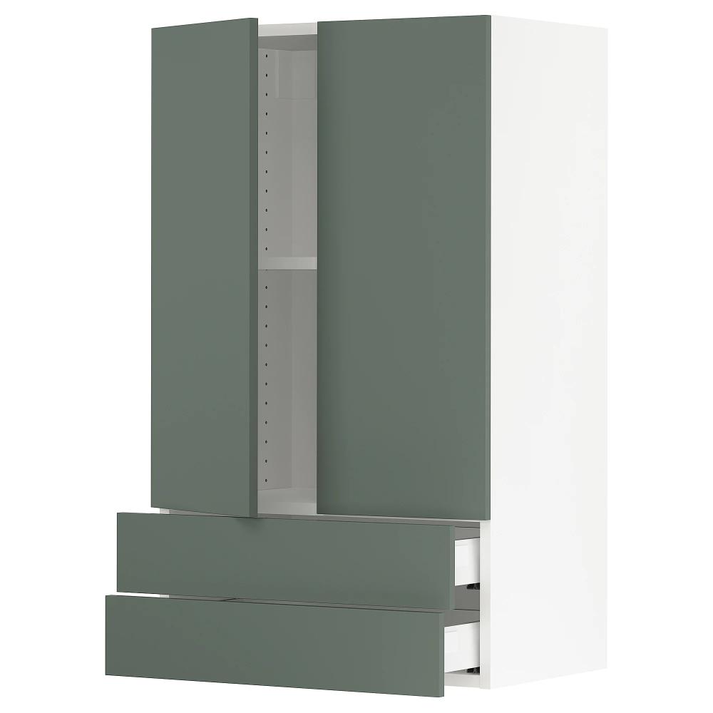 Ikea Sektion Wall Cabinet W 2 Doors 2 Drawers White Maximera Bodarp Gray Green Maximera Drawer Is A Smooth Running F Wall Cabinet Drawers Green And Grey
