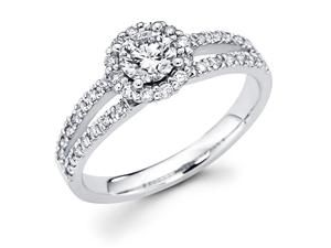 14k White Gold Cirque Halo Solitaire Round Diamond Engagement Ring w/ Micro Pave Channel Set Diamond Side Stones w/ Split
