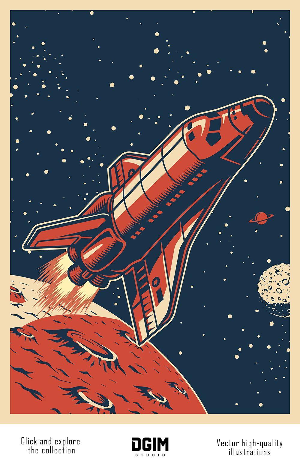 Vintage Space Emblems Set In 2020 Retro Space Posters Space Poster Design Vintage Space Poster