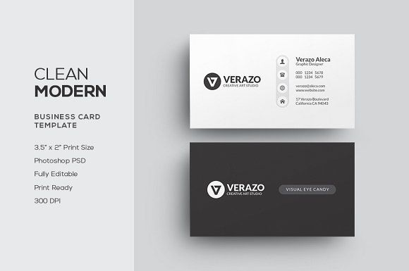 Clean modern business card business cards card templates and template clean modern business card by verazo on creativemarket cheaphphosting Images