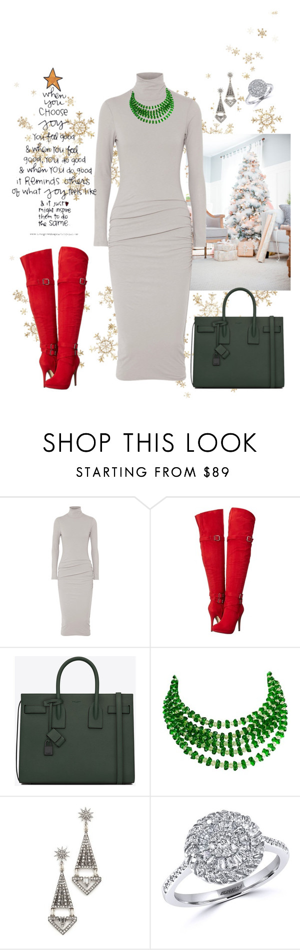 """""""Merry Christmas🎄❄☃"""" by parnett ❤ liked on Polyvore featuring James Perse, Michael Antonio, Yves Saint Laurent, Lulu Frost and Effy Jewelry"""
