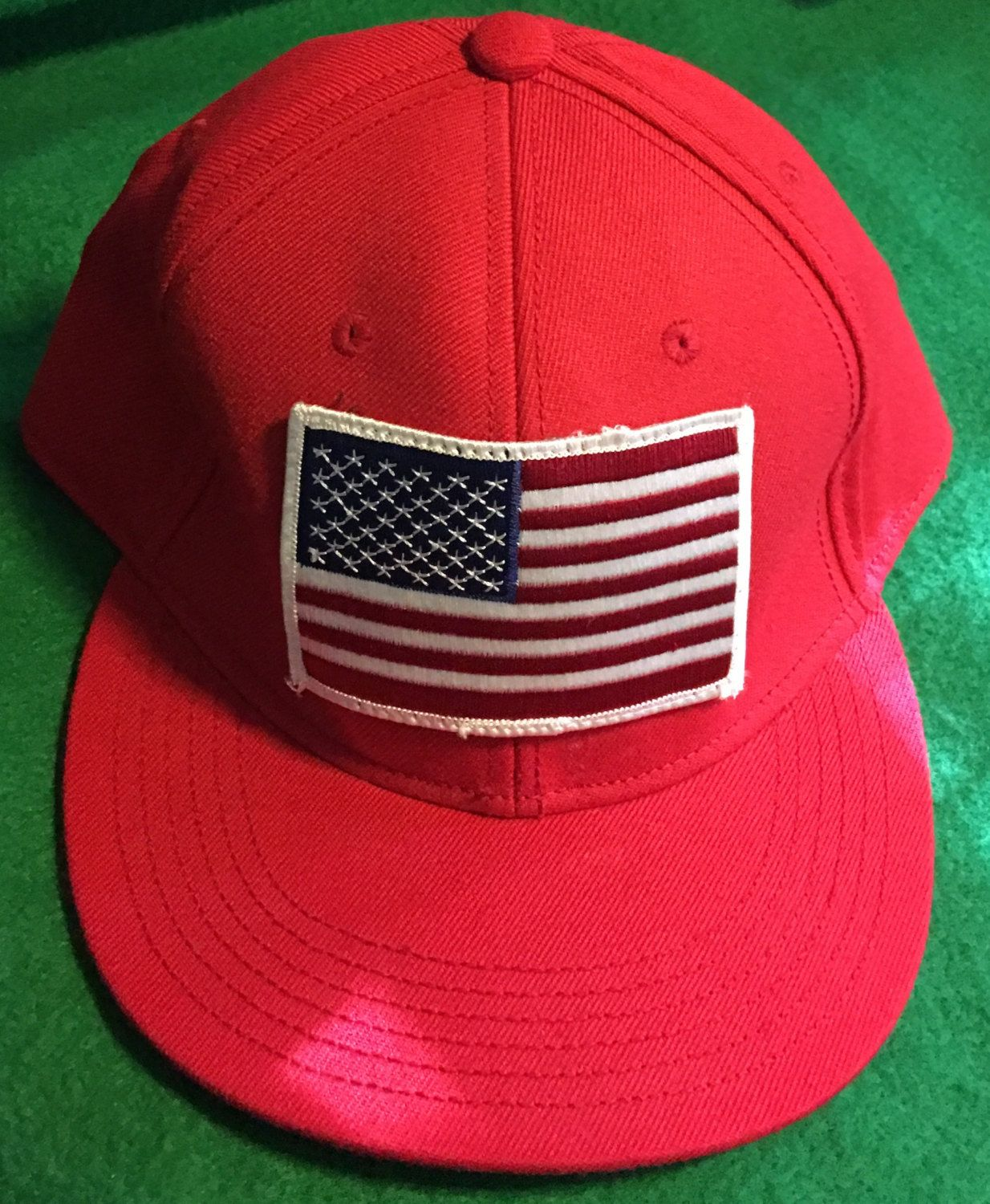 American Flag Fitted Cap Size 7 & 3/4 by CoryCranksOutHats on Etsy
